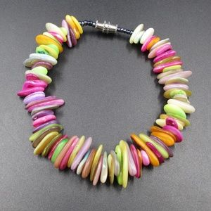 Vintage 7 Inch Colorful Shell Bracelet Beauty